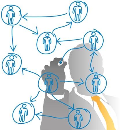 organigrama: Gerente de recursos humanos de empresas dibujar un diagrama de personas desde atr�s congelada de vidrio Vectores