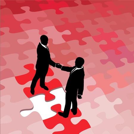 Zakenpartners mensen eens en handen schudden op oplossing van probleem puzzel