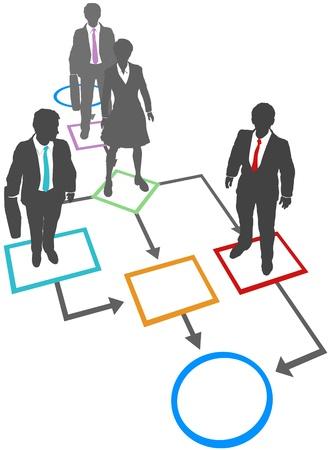 비즈니스 사람들은 순서도에 서있는 프로세스 관리 솔루션입니다. 일러스트