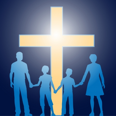 Silhouette family of parents and two children stand in front of bright shining cross