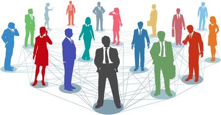 Grupo grande de gente de negocios de la silueta en nodos conectados por muchas líneas de la red