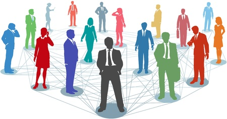 people connected: Large group of silhouette business people in nodes connected by many network lines Illustration