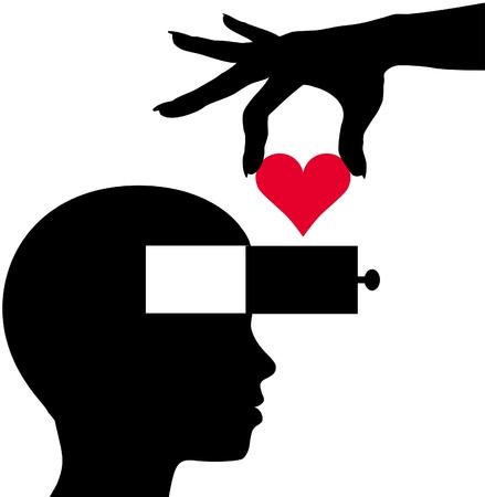 cassettiera: Mano scende un cuore come idea romantica dell'amore nella mente di persona