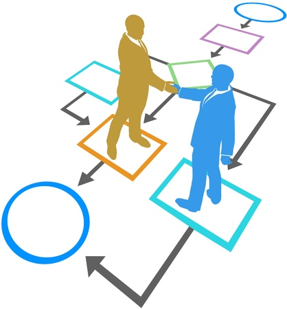 business partnership: Management business people silhouettes handshake agreement in flowchart process