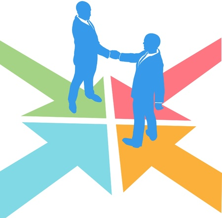 All paths lead to the deal as business people meet to agree Vector