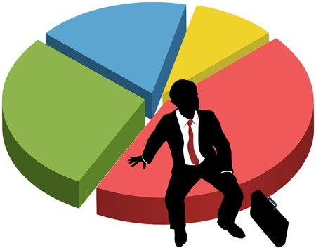 Business person silhouette owns market share success sitting on financial data pie chart Vettoriali