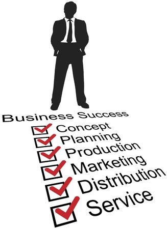 Silhouette entrepreneur stands at top of success To Do check list for business startup Stock Vector - 9567615