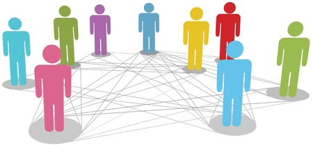 connections: Group of symbol people stand on network nodes to connect on line connection chart