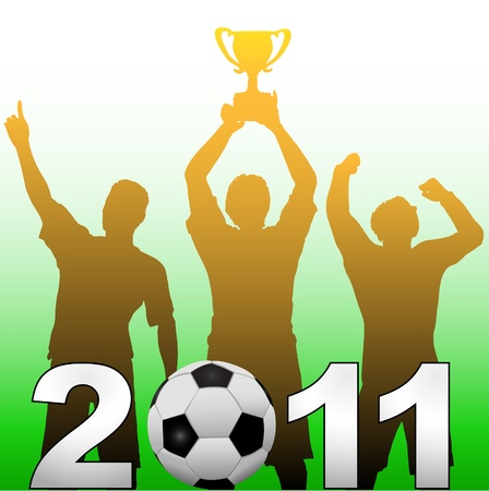 Three football players celebrate 2011 season soccer victory championship title game Vector