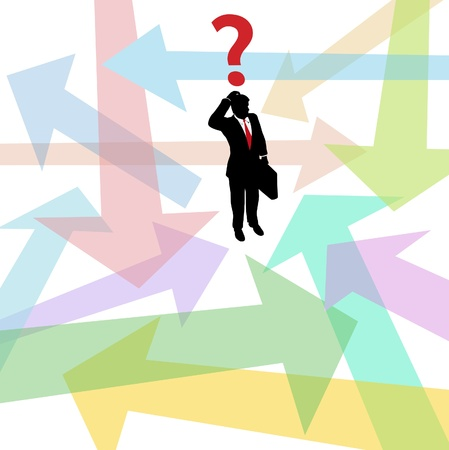 Business person standing in confusing arrows makes decision to answer question Ilustração