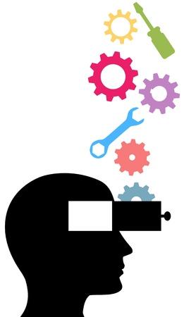 training: Gereedschap en tandwielen laten vallen in de open geest persoon leertechnologie onderwerpen
