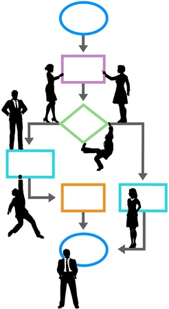 Programmers managers users climb and stand on a process management flowchart   イラスト・ベクター素材