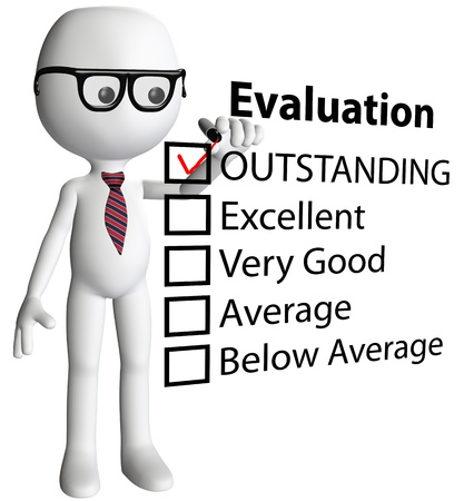 reviews: Cartoon teacher or human resources manager check OUTSTANDING evaluation form report card
