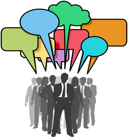 Business people connect under colorful social media network speech bubbles