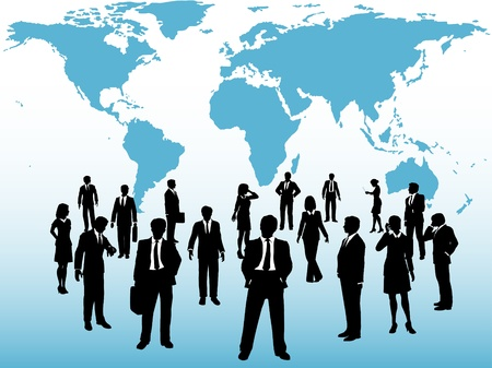 commerce communication: Group of busy global business people silhouettes connect under world map