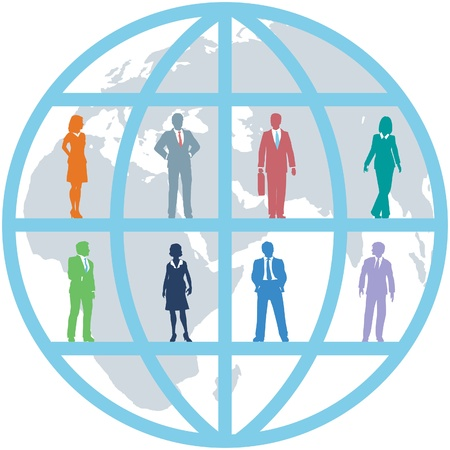 commerce communication: Global team of world business people as international human resources on map background