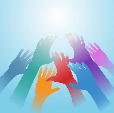 People hands of many colors reach out toward bright light copy space