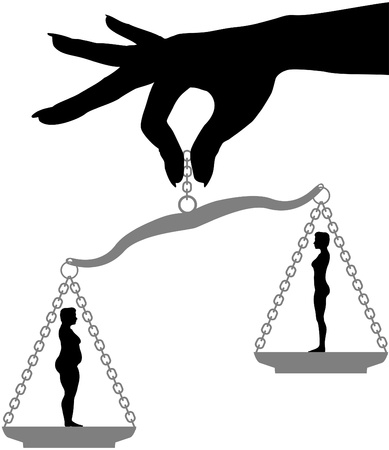 Woman holds fat fit silhouettes on a scale symbol of Diet Weight Loss Choice  イラスト・ベクター素材