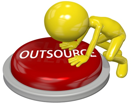 outsource: Business person pushes the OUTSOURCE button to hire independent contractor help