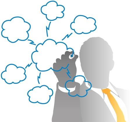 Business IT manager drawing cloud computing chart from behind frosted glass