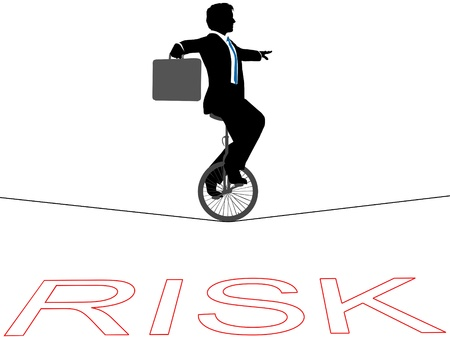 Business man rides a unicycle on a tightrope over financial risk Vector