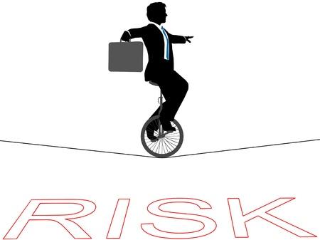 Hombre de negocios monta un monociclo en la cuerda floja en riesgo financiero