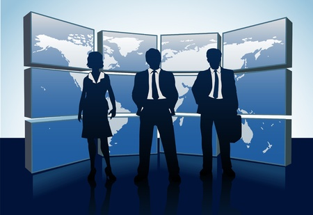 large group of objects: Business people teams standing in front of world map monitor wall Illustration