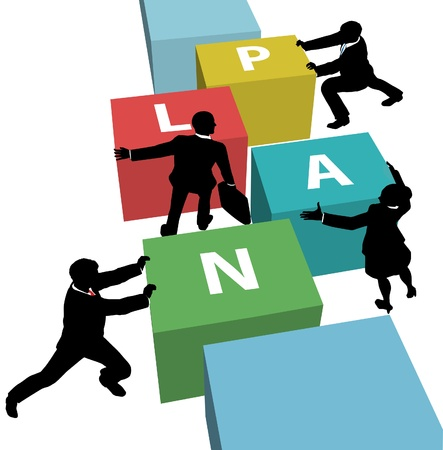 Team of business people work to assemble concept cubes of a PLAN Stock Vector - 9712919