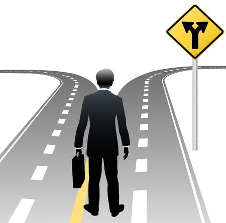 business decisions: Business person standing at road sign choice makes decision on future course
