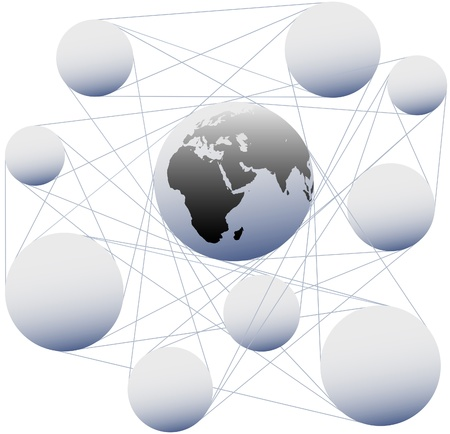 Connections join sphere copy space nodes and Earth in global network system Ilustrace