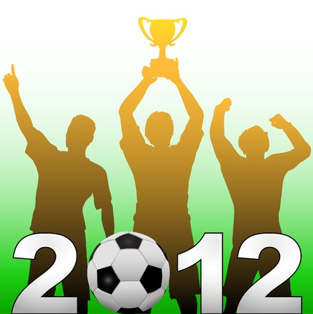 Three football players celebrate 2012 season soccer victory championship title game Vector