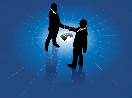 Global network business men partner in a  handshake for world agreement Ilustrace