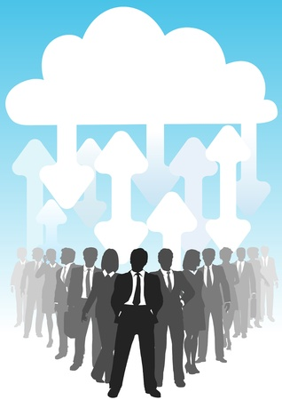 cloud: Company people do business in IT cloud computing environment Illustration
