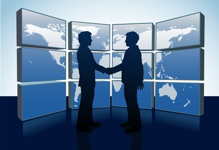 technology deal: Business people shake hands agreement and world map monitors