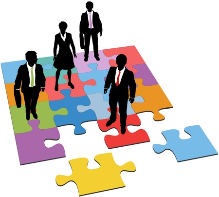 resources: Business people team stand on puzzle as a solution to human resources management need