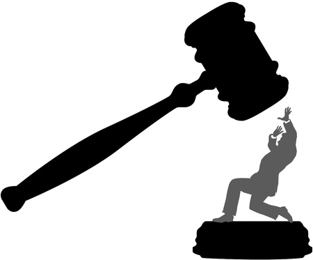 Injustice system court gavel hits person needing bail bond Stock Vector - 9712930