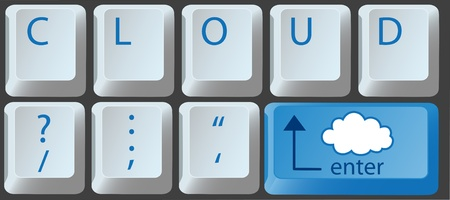 Enter the cloud with a cloud computing key on computer keyboard Иллюстрация