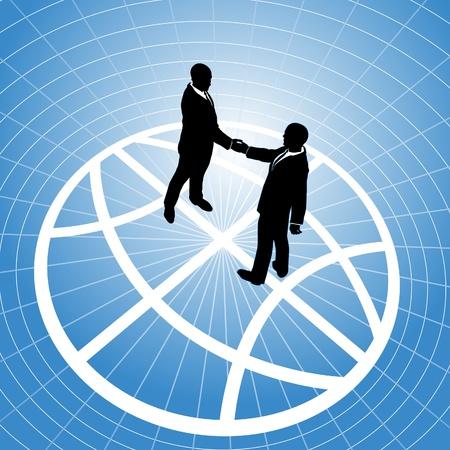 Global network business men partner in a  handshake for world agreement Stock Vector - 9712945