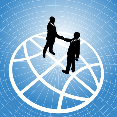 Global network business men partner in a  handshake for world agreement Stock Vector - 9712945