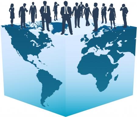 글로벌 비즈니스 리소스 사람들이 세계 큐브 위에 서 있습니다.