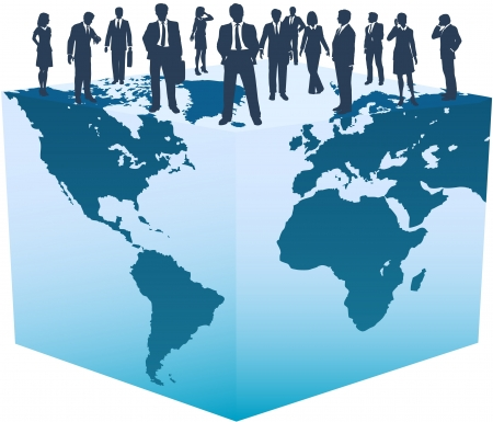 Global business resources people stand on top of the world cube Illustration