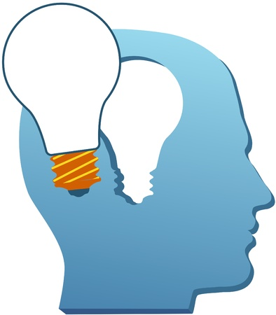 Light bulb idea symbol emerges from the mind of inventive man