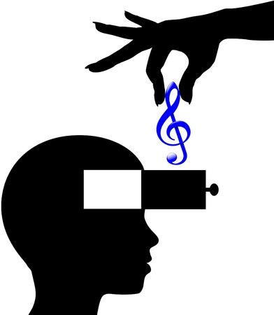 education concept: Music download lessons or appreciation into open mind of person
