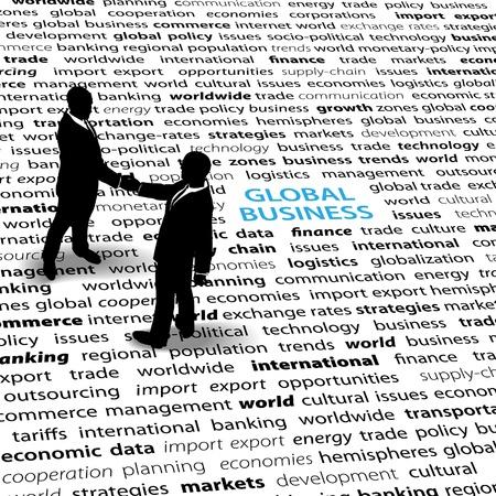 비즈니스 사람들은 세계 경제 문제에 대한 합의로 악수하는 텍스트 페이지에 서 있습니다.