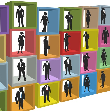 resources: Business people human resources workforce in company office cubicle boxes