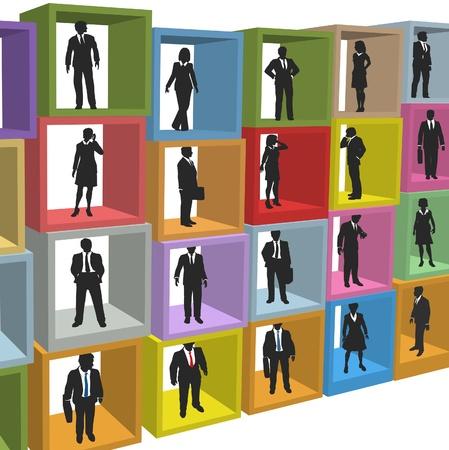 recursos humanos: Fuerza laboral de recursos humanos de personas negocios en cuadros de cub�culo de Oficina de empresa Vectores