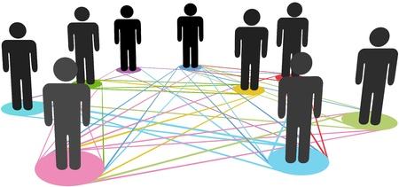 alianza: Las conexiones de color vinculan un grupo de nodos de gente de negocios sociales en una red Vectores