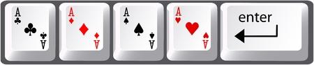 as de picas: Cuatro aces s�mbolos de tarjeta de mano de poker en las teclas del teclado de ordenador