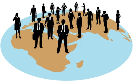 flat earth: Business people are corporate global human resources work force Illustration