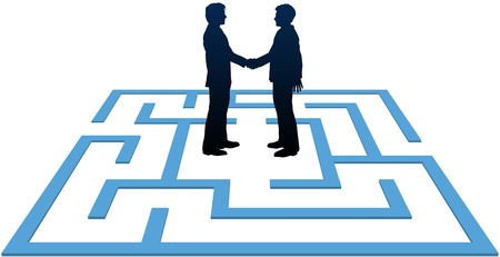 Two business people find a solution to problems and make an agreement in a maze  Ilustracja
